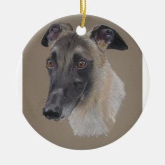 Greyhound Round Ceramic Decoration