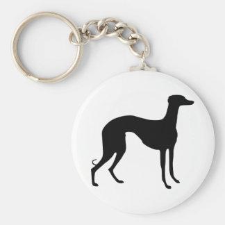 Greyhound Silhouette Basic Round Button Key Ring