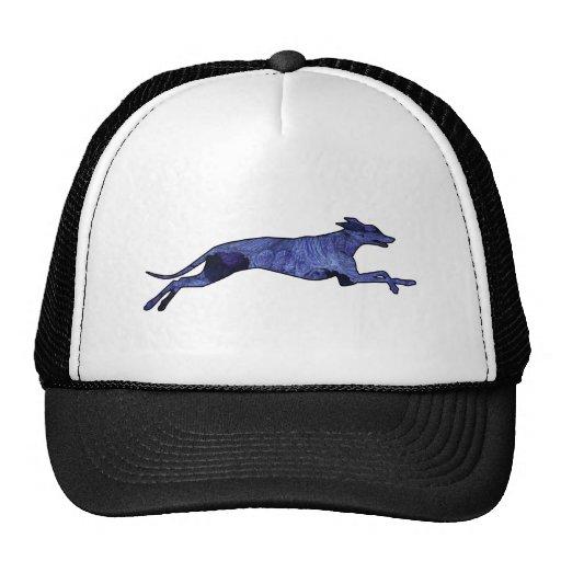 Greyhound Silhouette Fractal Hats