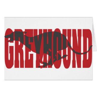 Greyhound Silhouette Red Greeting Cards