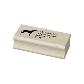 Greyhound Silhouette Return Address Rubber Stamp