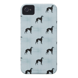 Greyhound Silhouettes Blue Tile Pattern iPhone 4 Cover