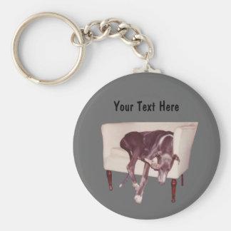 Greyhound Sleeping In Chair Funny Keychain