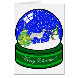 greyhound snow globe greeting card