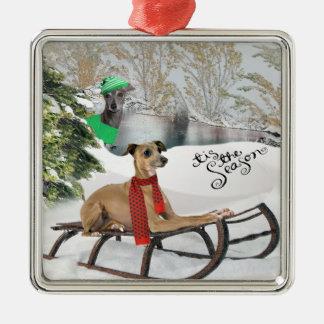 Greyhound Snow Play Ornament