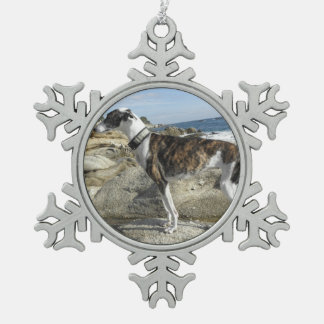 Greyhound Snowflake Pewter Christmas Ornament