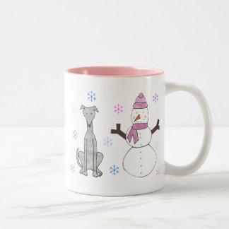 Greyhound & Snowman Two-Tone Mug