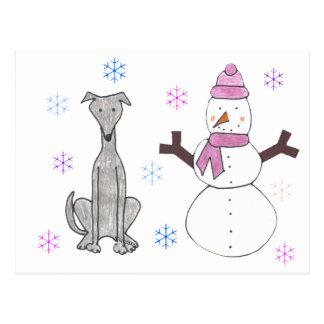 Greyhound & Snowman Post Cards