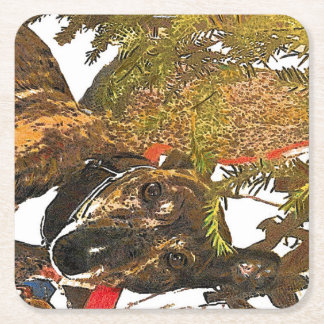 Greyhound under the Christmas tree coaster Square Paper Coaster