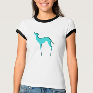 Greyhound/Whippet blue silhouette Ladies T-shirts
