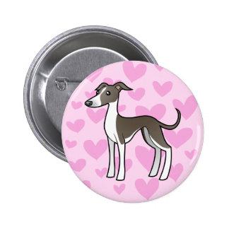 Greyhound / Whippet / Italian Greyhound Love 6 Cm Round Badge