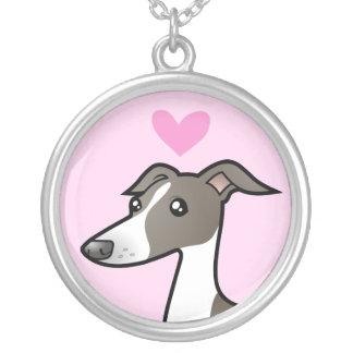 Greyhound / Whippet / Italian Greyhound Love Round Pendant Necklace