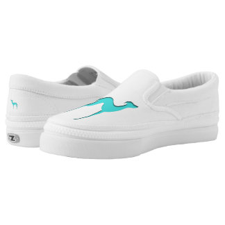 Greyhound/Whippet turquoise blue silhouette Slip-On Shoes