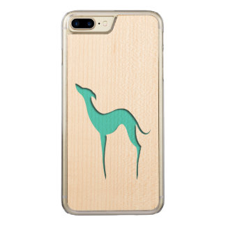 Greyhound/Whippet turquoise silhouette Carved iPhone 8 Plus/7 Plus Case