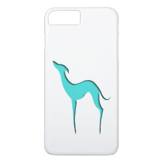Greyhound/Whippet turquoise silhouette iPhone 7 Plus Case