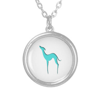 Greyhound/Whippet turquoise silhouette Necklace