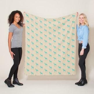 Greyhound/Whippet turquoise silhouette pattern Fleece Blanket
