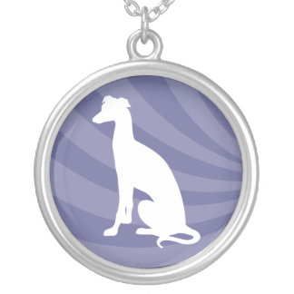 Greyhound  White Silhouette - Necklace