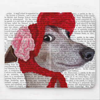 Greyhound with Red Woolly Hat 2 Mouse Mat