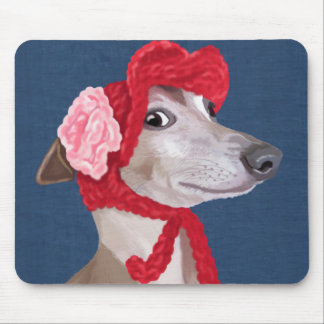 Greyhound with Red Woolly Hat Mouse Mat