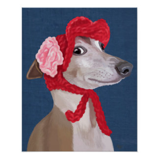 Greyhound with Red Woolly Hat Poster