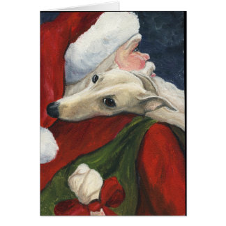 """Greyhound with Santa"" Dog Art Christmas Card"
