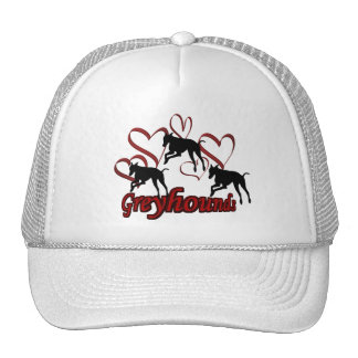 Greyhounds And Red Hearts Dog Hat