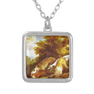 Greyhounds coursing a fox by Thomas Gainsborough Square Pendant Necklace