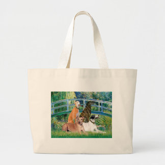 Greyhounds (four) - Bridge Large Tote Bag