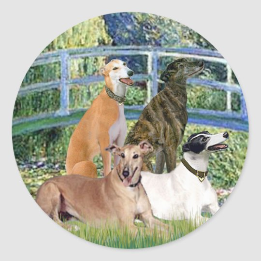 Greyhounds (four) - Bridge Round Sticker