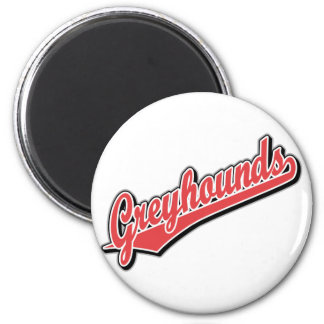Greyhounds in Red and Gray 6 Cm Round Magnet