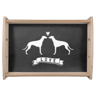 Greyhounds Love - Dog Silhouettes w/ Heart Serving Tray