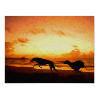 Greyhounds on Beach Poster