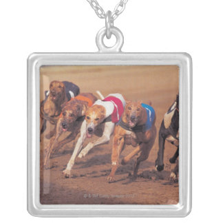 Greyhounds racing on track square pendant necklace