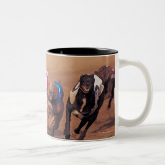 Greyhounds racing on track Two-Tone coffee mug