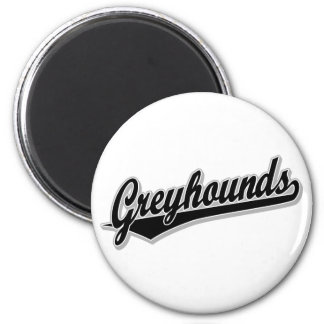 Greyhounds script logo in black and gray 6 cm round magnet