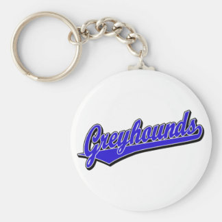 Greyhounds script logo in blue key ring