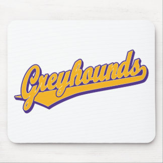 Greyhounds script logo in gold and purple mouse pad