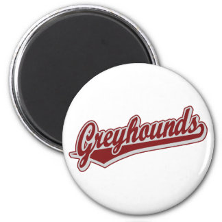 Greyhounds script logo in maroon and grey 6 cm round magnet