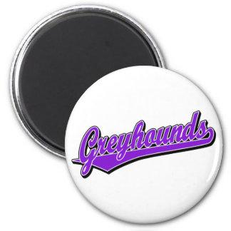 Greyhounds script logo in purple 6 cm round magnet