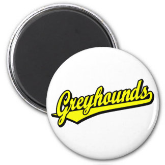 Greyhounds script logo in yellow refrigerator magnet
