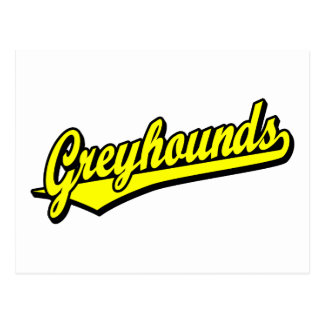 Greyhounds script logo in yellow postcard