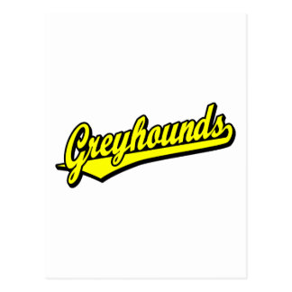 Greyhounds script logo in yellow post card