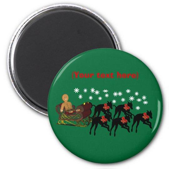 Greyhounds Sleigh Christmas Holiday Magnet