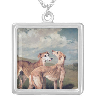 Greyhounds Square Pendant Necklace