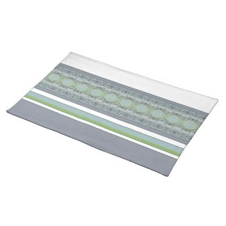 Greys And Blue  With Green Stripe Accent Placemat