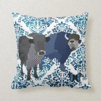 Grey's Indigo Yaks & Butterfly  Damask Mojo Pillow