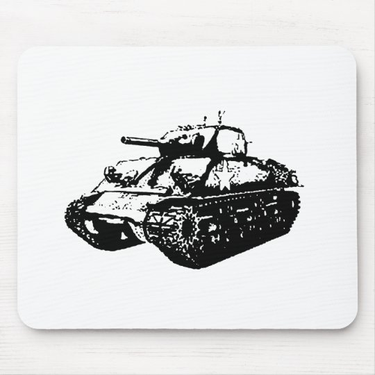 Greyscale Sherman Tank Illustration Mouse Pad