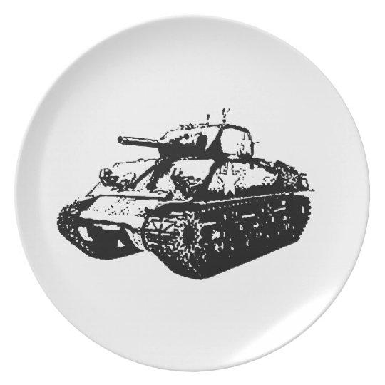 Greyscale Sherman Tank Illustration on Plate