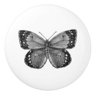 Greyscale Vintage Butterfly Ceramic Knob